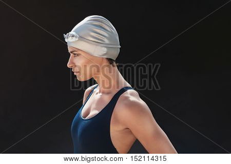 Determined Young Female Swimmer