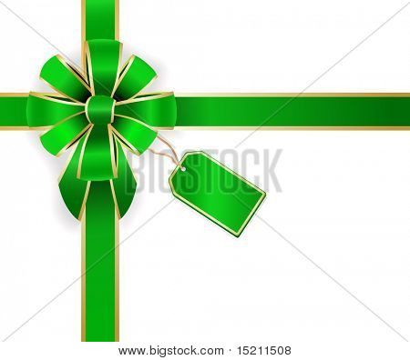 vector green bow with empty green tag