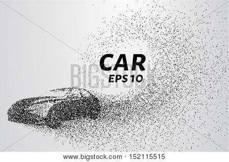 Car from the particles. The car disintegrates to smaller molecules. Vector illustration