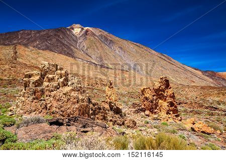 big rocks at the mount Teide National Park Tenerife Canary Islands Spain