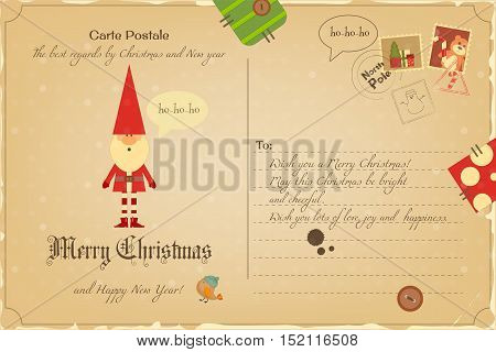 Vintage Postcard with Christmas and New Years Greeting. Backdrop of Postal Card  for Winter Holiday. Santa Claus. Vector Illustration.