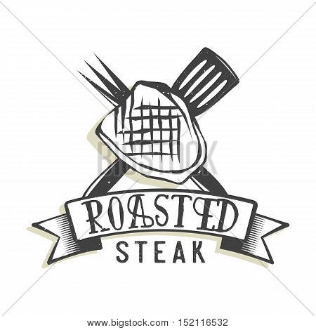Creative logo design with steak. Vector illustration. Designed to label, emblem or badge for bbq house, steak house, restaurant menu design.