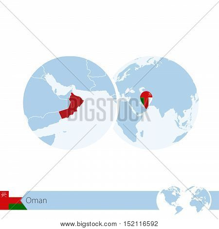 Oman On World Globe With Flag And Regional Map Of Oman.