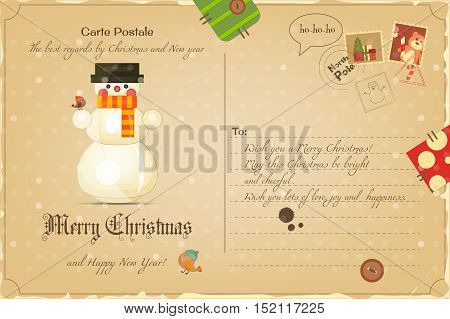 Vintage Postcard with Christmas and New Years Greeting. Backdrop of Postal Card for Winter Holiday. Snowman. Vector Illustration.