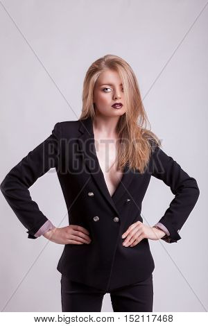 Sensual Business Woman In Fashion Suit