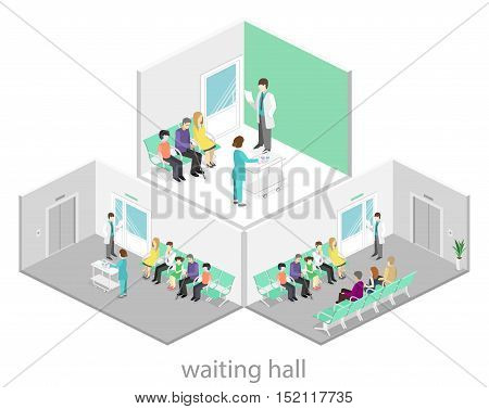 Waiting Room In Hospital. Visitors Sit On The Chairs In The Corridor. Patient Waits To Receive A Doc