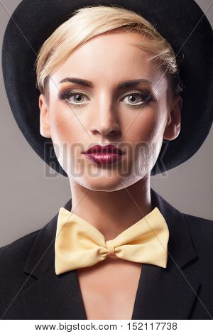 Woman In Hat With Professional Make Up