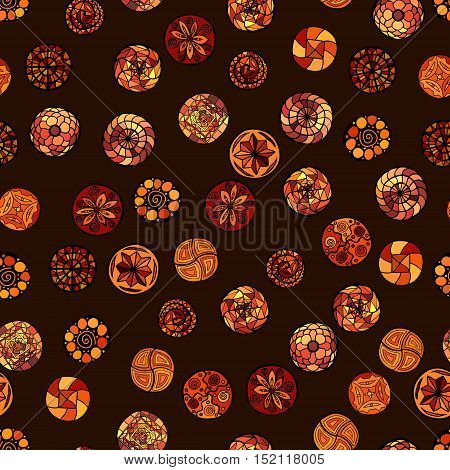 hand drawn vector ethnic seamless pattern with ornate circles