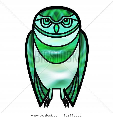 Green burrowing owl drawn in simple tribal style with a stained glass effect.