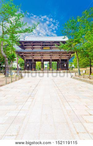 Nandaimon South Gate Todai-ji Path Blue Sky