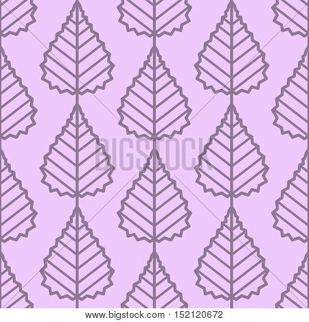 Birch leaves outline seamless vector pattern. Vintage style and colors (purple). Wrapping paper design.