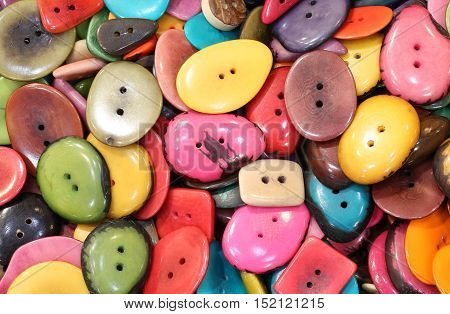 Colorful Buttons Made With Dried Palm Seeds In The Ethnic Shop
