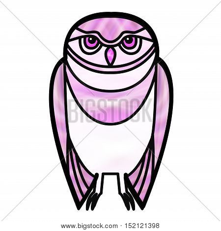 Pink burrowing owl drawn in simple tribal style with a stained glass effect.