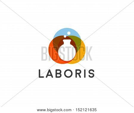 Lab vector logo. Flask logotype. Science education creative sign symbol icon design.