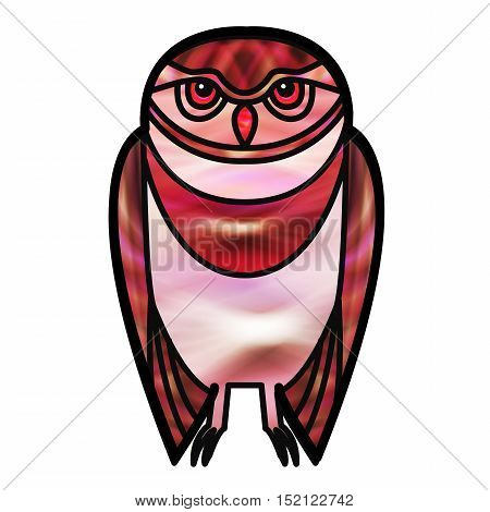 Red burrowing owl drawn in simple tribal style with a stained glass effect.