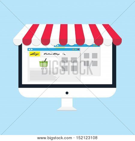 flat vector business online shop Computer monitor Online Store icon
