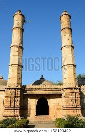 Champaner - Pavagadh Archaeological Park is a historical city in the state of Gujarat. Kevda Masjid mosque. (UNESCO).Inside the Sahar ki Masjid