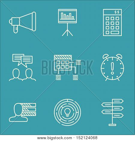 Set Of Project Management Icons On Investment, Opportunity And Personal Skills Topics. Editable Vect