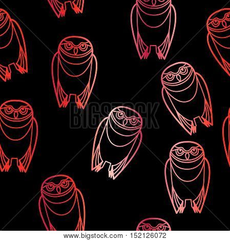 Seamless red burrowing owls over a black background.