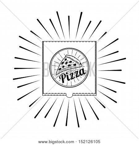 Pizza Box. A Slice Of Pizza. Label Pizzeria. Design Elements Vector Illustration