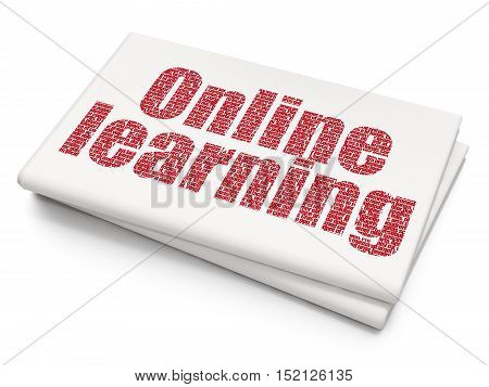 Education concept: Pixelated red text Online Learning on Blank Newspaper background, 3D rendering