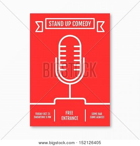 Vector Illustration of stand up Comedy in Night Club event for performance show poster design, Banner, wallpaper. Microphone silhouette sutline style. Element template on red background.