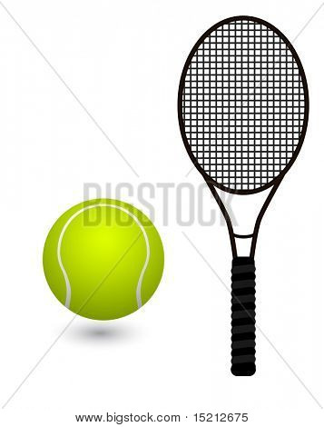 vector tennis racket and ball