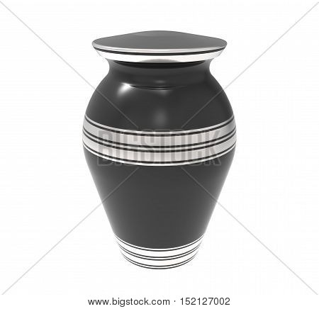 Cremation black urn 3d rendering isolated on white