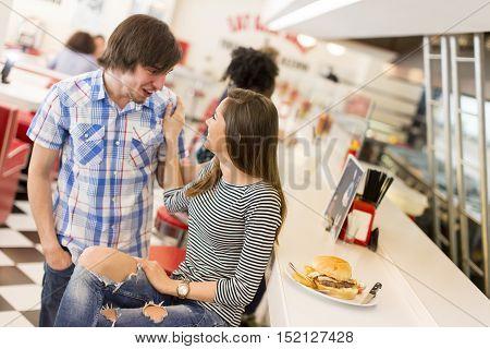 Loving Couple In Diner