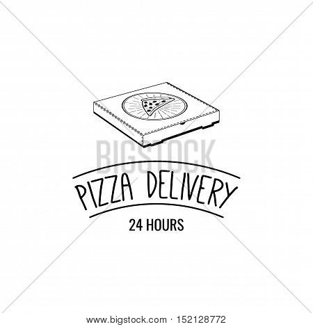 Pizza Box. A Slice Of Pizza. Pizza Delivery. 24 Hours. Label Pizzeria. Design Elements Vector Illustration