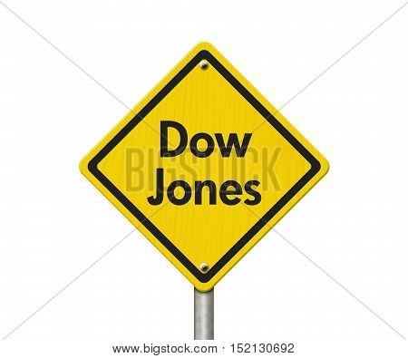 Yellow Warning Dow Jones Highway Road Sign Red Yellow Warning Highway Sign with words Dow Jones isolated on white 3D Illustration