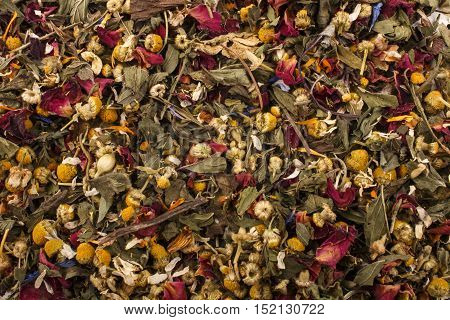some dry organic summery herbal blossom tea