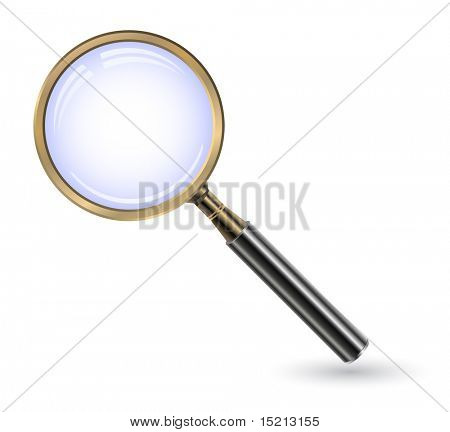vector golden magnifying glass icon