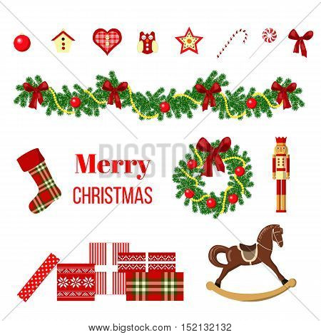 Big christmas set with wreath, ribbon, ornament balls, fairy lights, bows, gifts, Nutcracker, rocking-horse, birdhouse, socks, baubles Vector illustration Xmas For postcards greetings prints banner