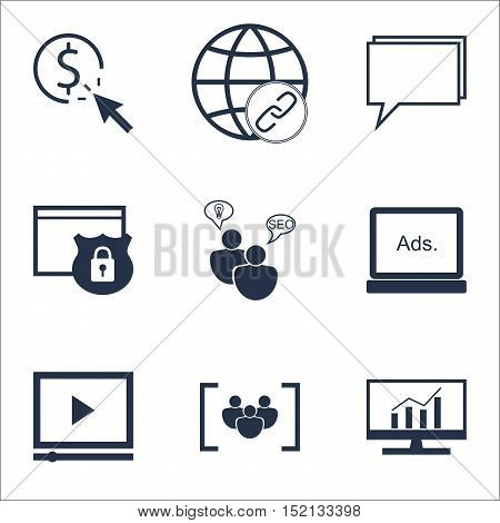 Set Of Marketing Icons On Video Player, Digital Media And Market Research Topics. Editable Vector Il