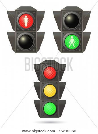 vector traffic lights set