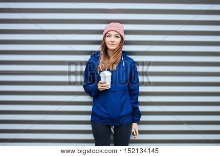 Stylish Sporty Brunette Woman In Trendy Urban Outwear Posing With Big White Disposable Cup Straw Col