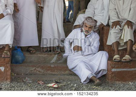 Nizwa Oman October 13th 2016: old man in Nizwa goat market
