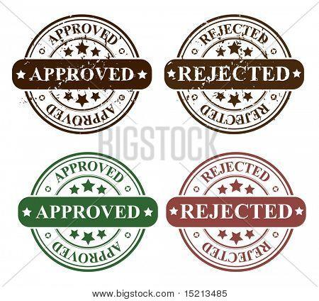 vector verwerpen en goedgekeurd stempels