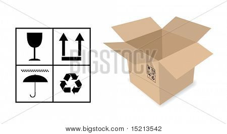 vector cardboard box with signs