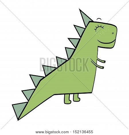 green dino animal toy over white background. drawn design. vector illustration