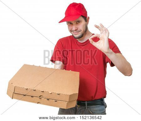 Pizza Delivery Concept. Young Man Is Giving Tasty Pizza In Box.