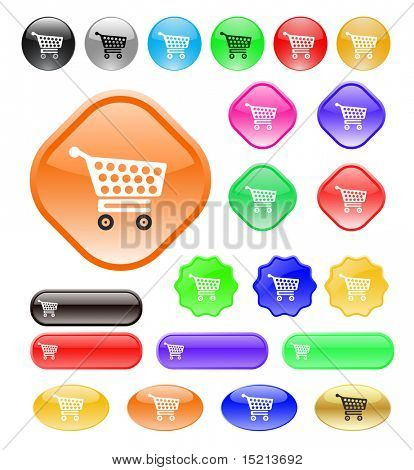 vector web buttons with shopping cart icon