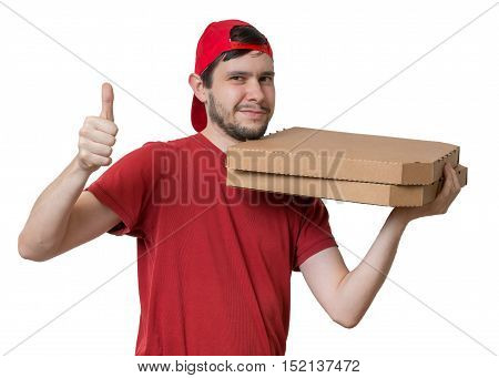 Young Man Is Delivering Pizza In Boxes. Pizza Delivery Concept.