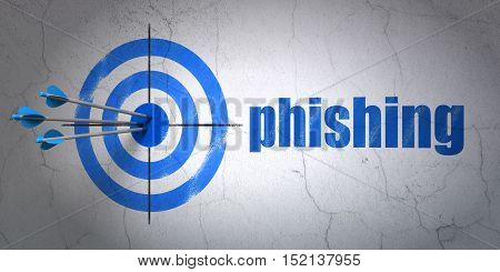 Success privacy concept: arrows hitting the center of target, Blue Phishing on wall background, 3D rendering