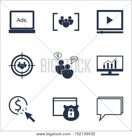 Set Of Advertising Icons On Focus Group, Security And Digital Media Topics. Editable Vector Illustra