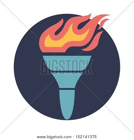Flat style torch vector icon illustration on the white background.