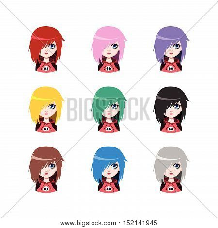 Emo Girl - 9 Different Hair Colors