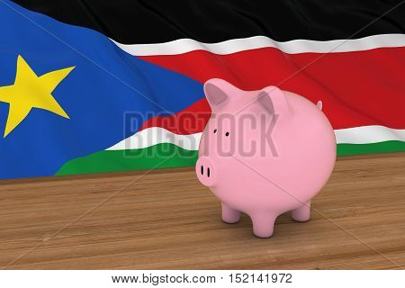 South Sudan Finance Concept - Piggybank In Front Of South Sudanese Flag 3D Illustration