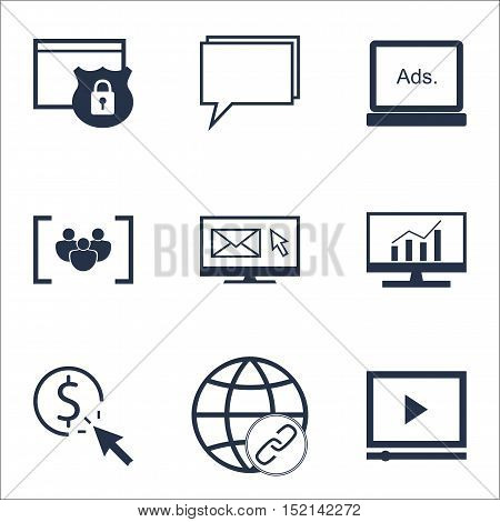 Set Of Advertising Icons On Newsletter, Market Research And Questionnaire Topics. Editable Vector Il